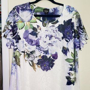 White/Purple Lace Overlay Top with Split Back